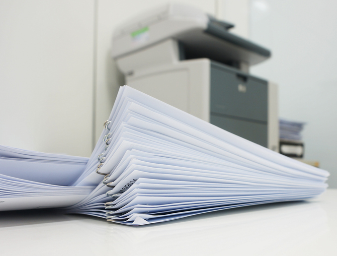 A pile of papers to use in the scan documents to email process